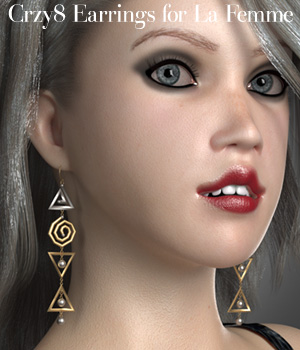Crzy8 Earrings for La Femme 3D Figure Assets La Femme Female Poser Figure jancory