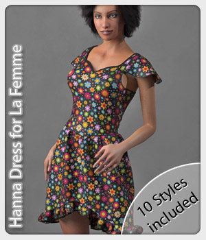 Hanna Dress & 10 Styles for La Femme 3D Figure Assets La Femme Pro - Female Poser Figure karanta
