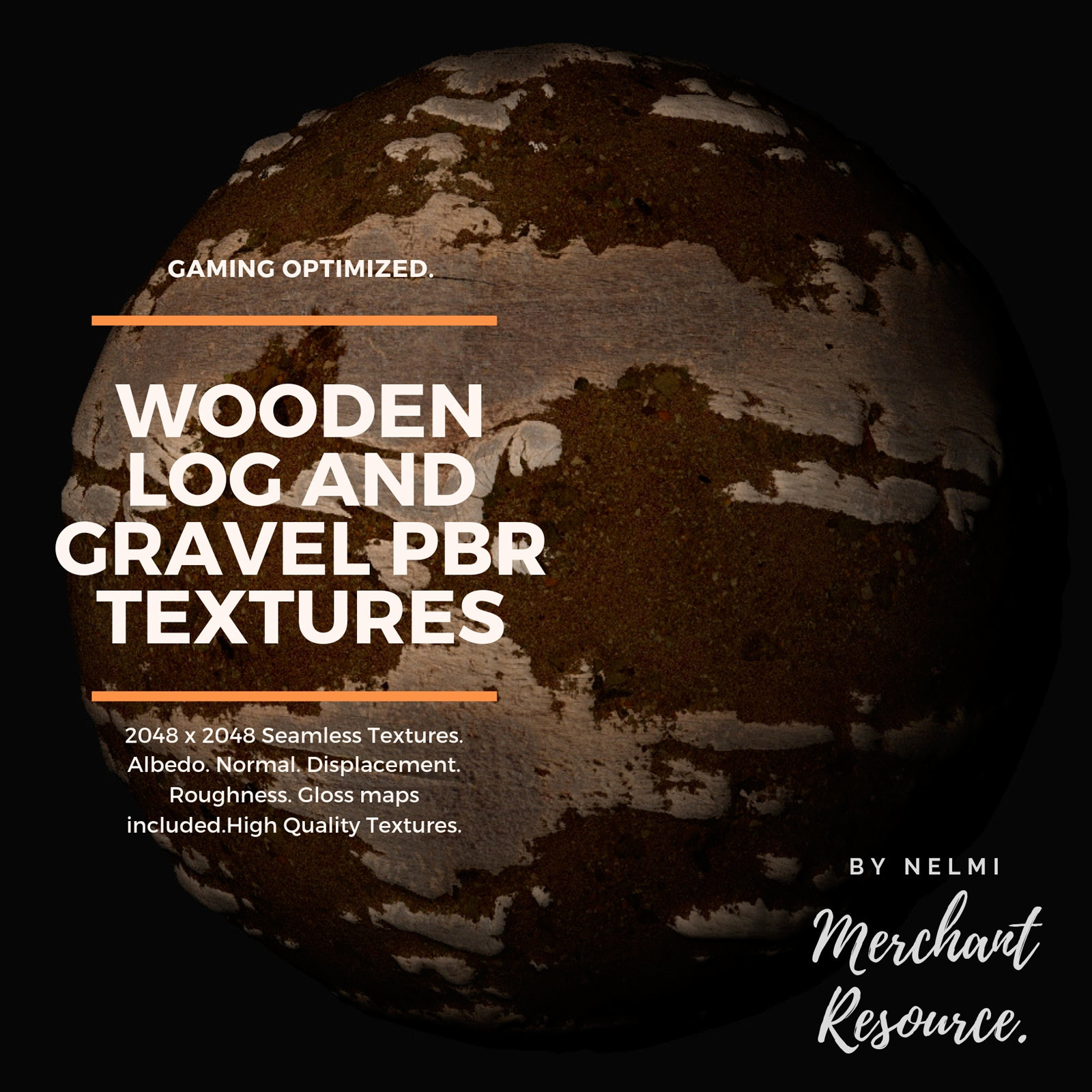 Wooden Log and Gravel PBR Textures - Merchant Resource