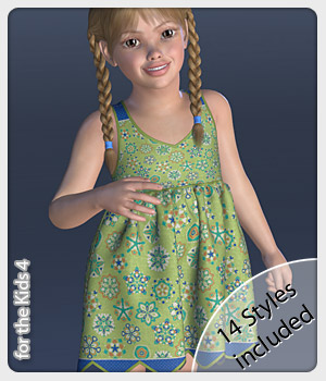 Fiona Dress and 14 Styles for the Kids 4 3D Figure Assets karanta