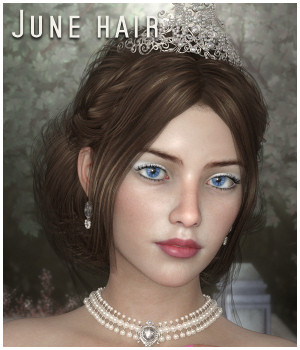 June Hair for G3 G8 and LaFemme/V4 3D Figure Assets RPublishing