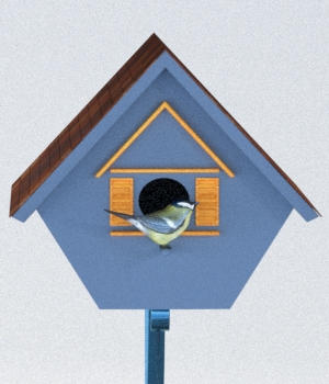 Four Birdhouses - OBJ 3D Models forester