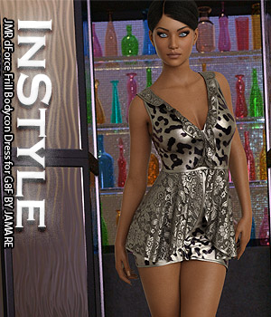 InStyle - JMR dForce Frill Bodycon Dress for G8F 3D Figure Assets -Valkyrie-