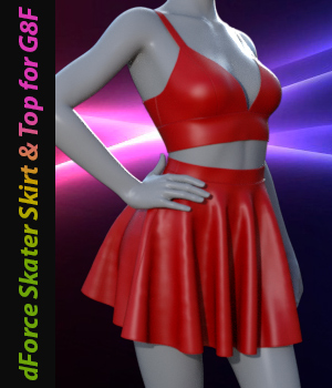 dForce Skater Skirt with Top for Genesis 8 Female 3D Figure Assets Tanya_Littlefox