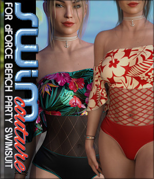 SWIM Couture for dForce Beach Party Swimsuit 3D Figure Assets Sveva