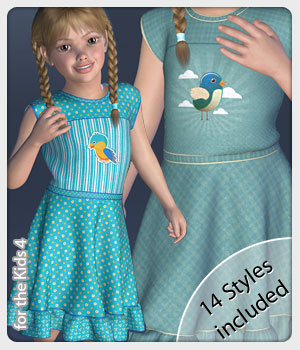 Melly Dress and 14 Styles for the Kids 4 3D Figure Assets karanta