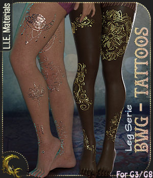 BWG - Tattoos, Leg Serie for G3-G8 - DAZ Studio 3D Figure Assets Cyriona