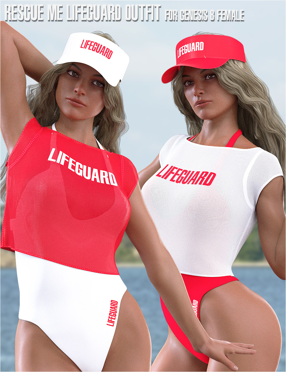dForce Rescue Me Lifeguard Outfit for Genesis 8 Female