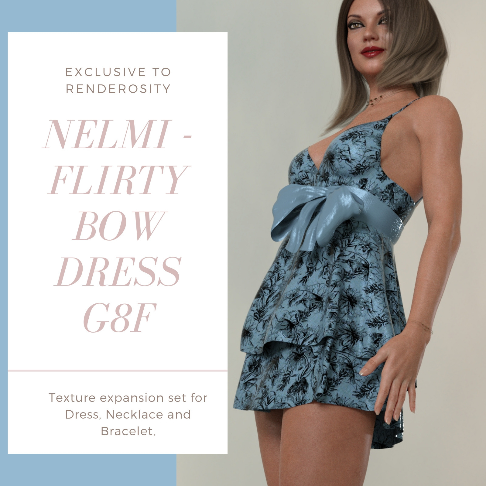 NELMI for dForce Flirty Bow Dress - Genesis 8 Female(s)