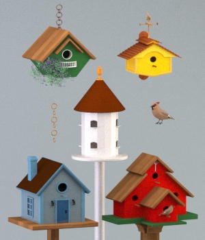 Five Birdhouses - OBJ 3D Models forester