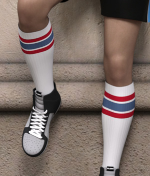 Sport Styles for CJ Studio Tube Socks for Genesis 3 and 8 Females 3D Figure Assets SF-Design