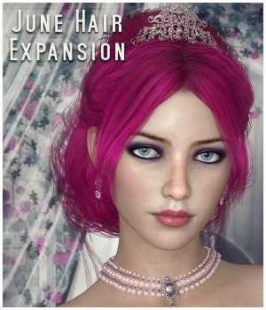 June Hair Expansion for DS/Poser 3D Figure Assets La Femme Female Poser Figure Propschick