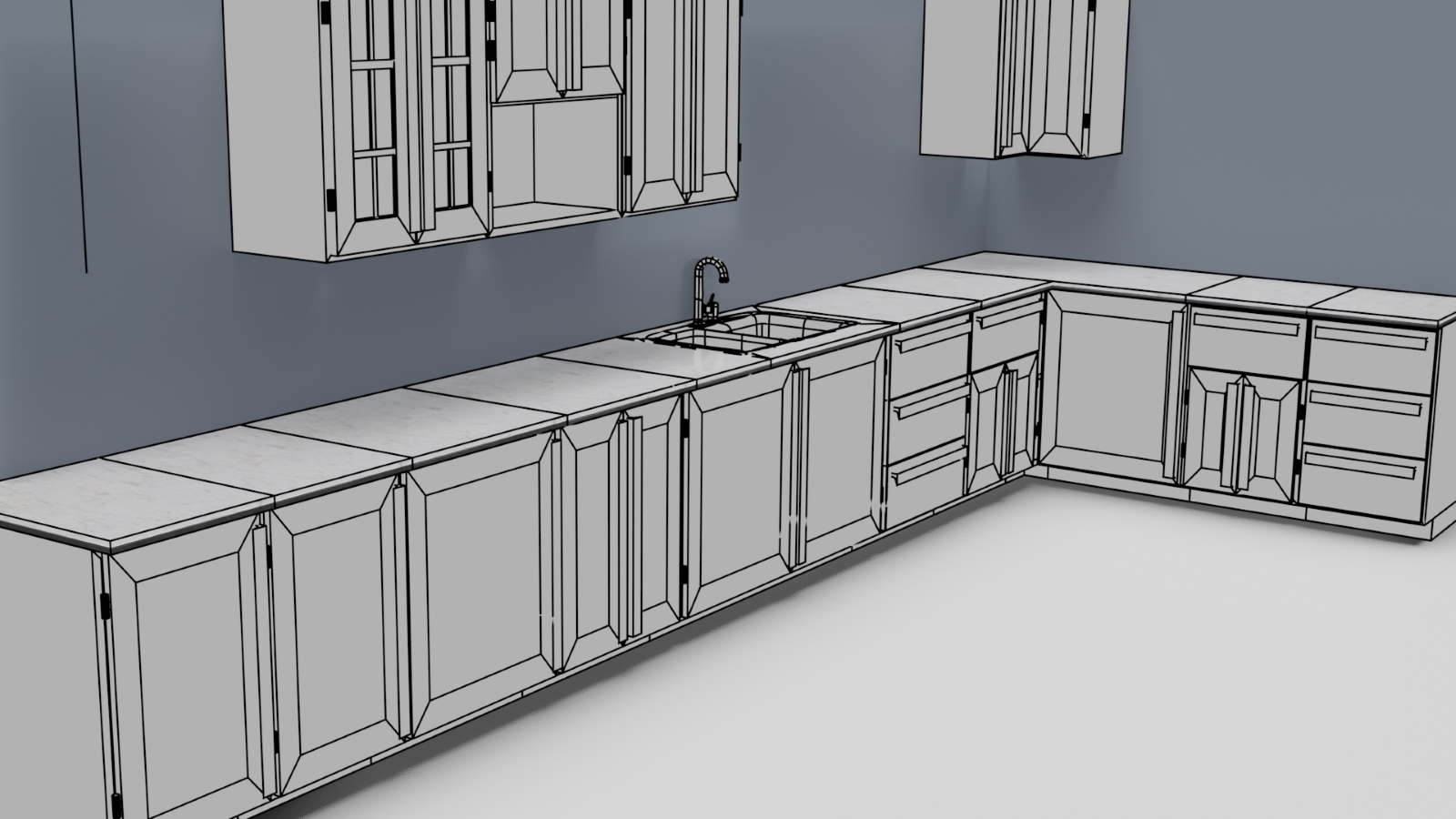 Low Poly Kitchen Grey - Extended License 3D Game Models : OBJ : FBX