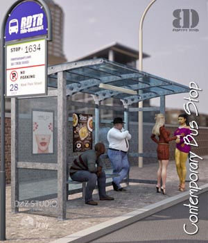 Contemporary Bus Stop 3D Models bigdreams