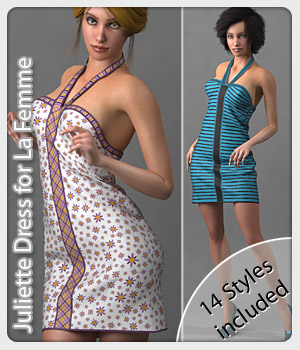 Juliette Dress and 14 Styles for La Femme 3D Figure Assets La Femme Pro - Female Poser Figure karanta