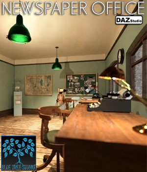 Newspaper Office for Daz Studio 3D Models BlueTreeStudio