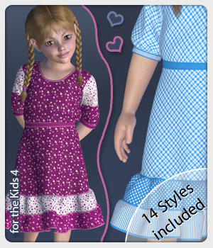 Tonia Dress and 14 Styles for the Kids 4 3D Figure Assets karanta