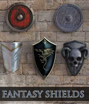 Epic Fantasy Shields for Daz Studio 4 3D Figure Assets BradCarsten
