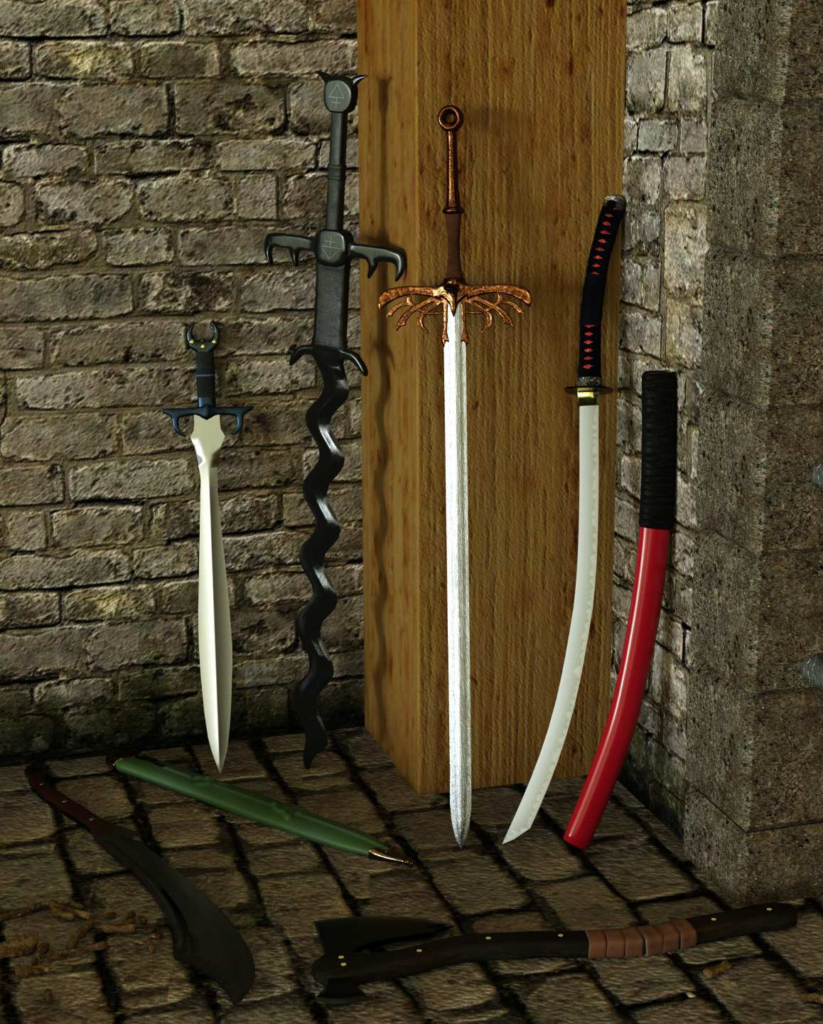 Fantasy Weapon Set One for Genesis 8 by Deacon215