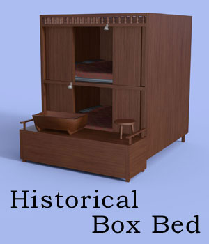 Historical Box Bed For Daz Studio Iray 3D Models BlueIrene