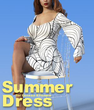 dForce and standard conforming Summer Dress for G8F 3D Figure Assets powerage