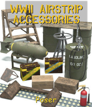 WWII Airstrip Accessories 3D Models andreasgr