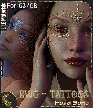 BWG - Tattoos, Head Serie for G3-G8 - DAZ Studio 3D Figure Assets Cyriona
