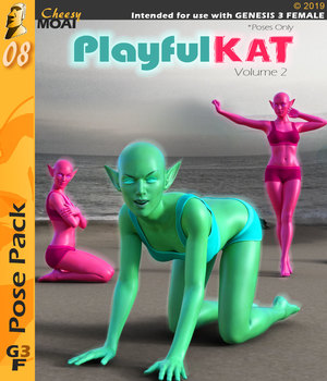 Playful Kat v02 : By CheesyMoai for G3F 3D Figure Assets CheesyMoai