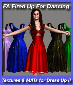 Fired Up For Dancing - textures and MAT poses for Dress Up II 3D Figure Assets fireangel
