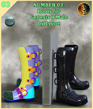 Lyones Number 03 boots for G8M 3D Figure Assets Lyone