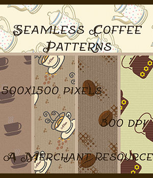 Seamless Coffee Patterns 2D Graphics Merchant Resources antje