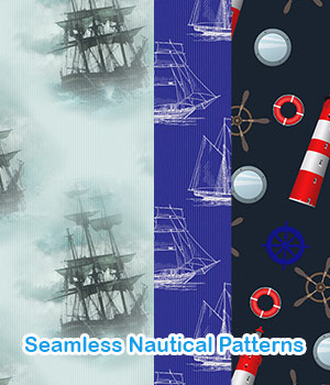 Seamless Nautical Patterns 2D Graphics Merchant Resources antje