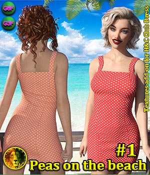 Peas on the beach 1 for H and C Club Dress 3D Figure Assets Lyone