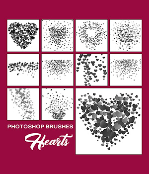 Photoshop Brushes - Hearts 2D Graphics Merchant Resources Atenais