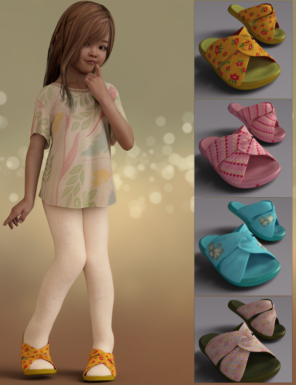 Joyce Sandals for Genesis 8 Female