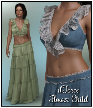 dForce - Flower Child for G8F 3D Figure Assets Lully