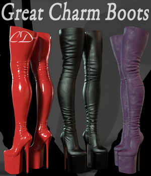 Great Charm Boots for g3f g8f 3D Figure Assets curtisdway