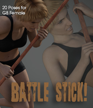 Battle Stick! for Genesis 8 Female 3D Figure Assets 3D Models PainMD