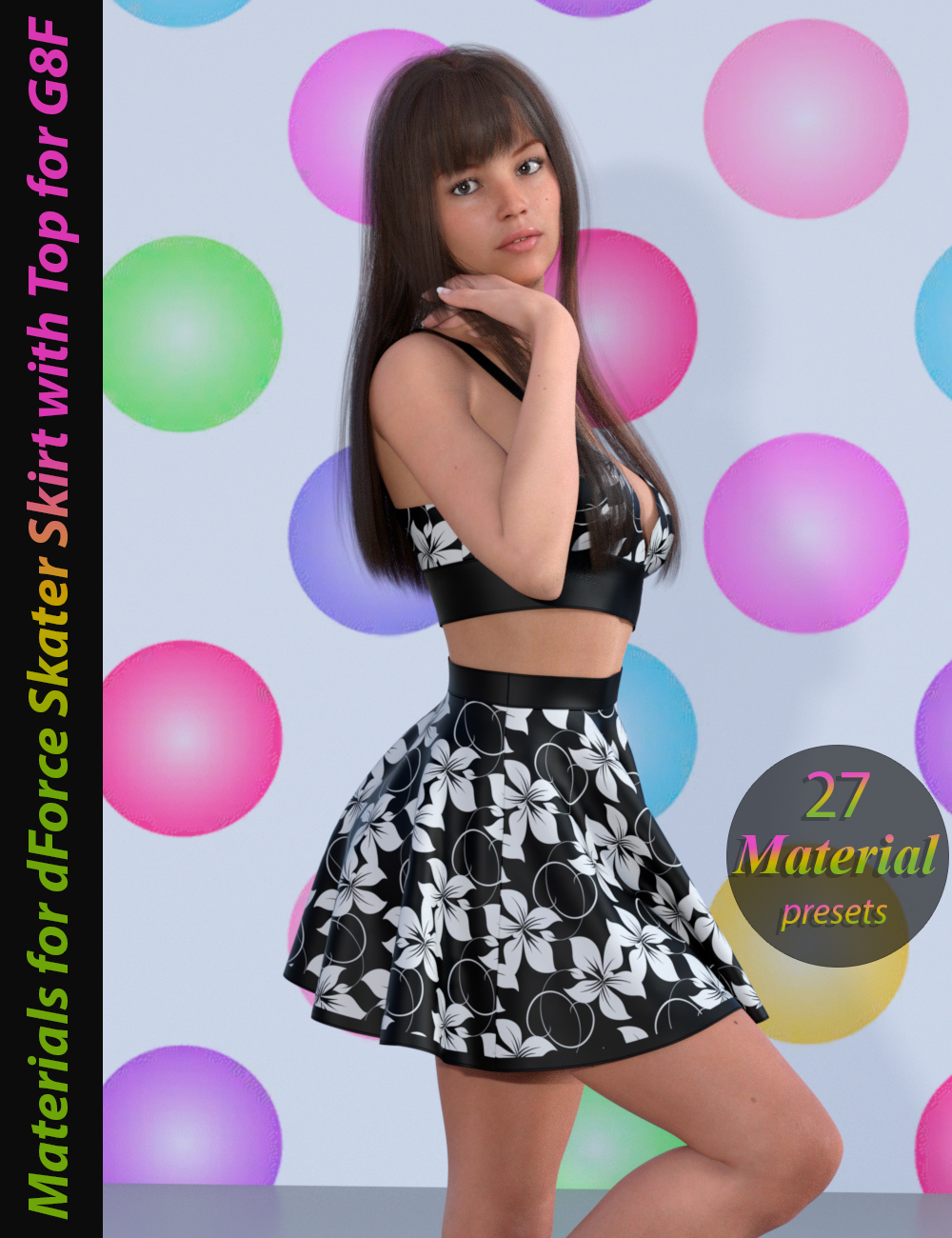 Materials for dForce Skater Skirt with Top for Genesis 8 Female