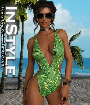 InStyle - X-Sasion Deep V Swimsuit 3D Figure Assets -Valkyrie-