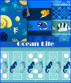 Seamless Ocean Life Patterns 2D Graphics Merchant Resources adarling97