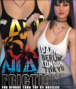 Friction for dForce Tank Top G8F 3D Figure Assets Sveva