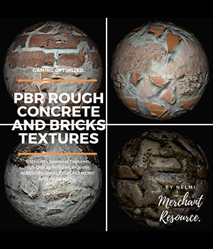 PBR Rough Concrete and Bricks Textures - MR 2D Graphics Merchant Resources nelmi