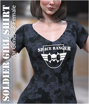 dForce Soldier Girl Shirt for Genesis 8 Female 3D Figure Assets Imaginary3D