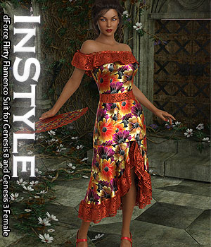 InStyle - dForce Flirty Flamenco Suit for Genesis 8 and Genesis 3 Female 3D Figure Assets -Valkyrie-