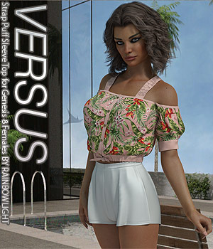 VERSUS - Strap Puff Sleeve Top for Genesis 8 Females 3D Figure Assets Anagord