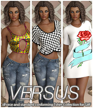 VERSUS - dForce and standard conforming Tshirt Collection for G8F 3D Figure Assets Anagord