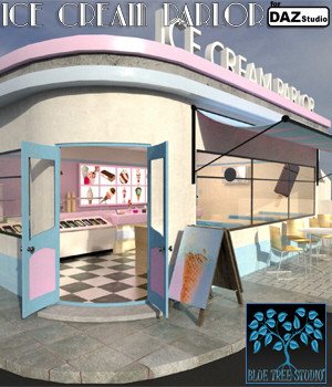 Ice Cream Parlor for Daz Studio 3D Models BlueTreeStudio