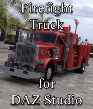 Firefight Truck for DAZ Studio 3D Models Digimation_ModelBank