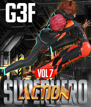 SuperHero Action for G3F Volume 7 3D Figure Assets GriffinFX